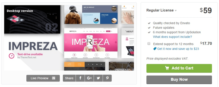 Impreza WordPress Theme review