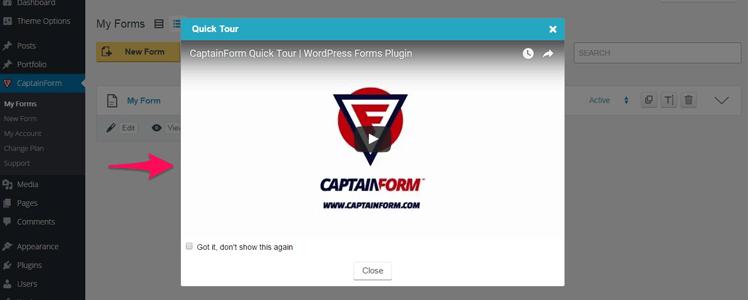 CaptainForm WordPress forms plugin 1
