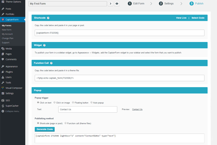 CaptainForm WordPress forms plugin 13