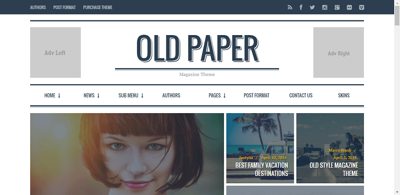 OldPaper WordPress blog theme