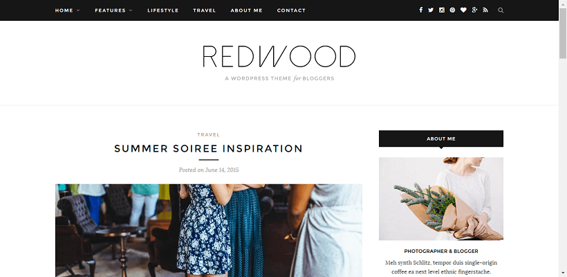 Redwood WordPress blog theme