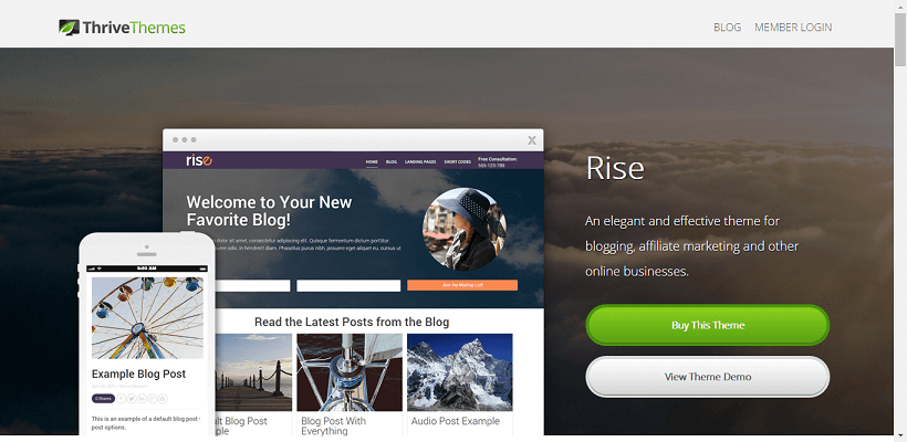 Rise WordPress blog theme