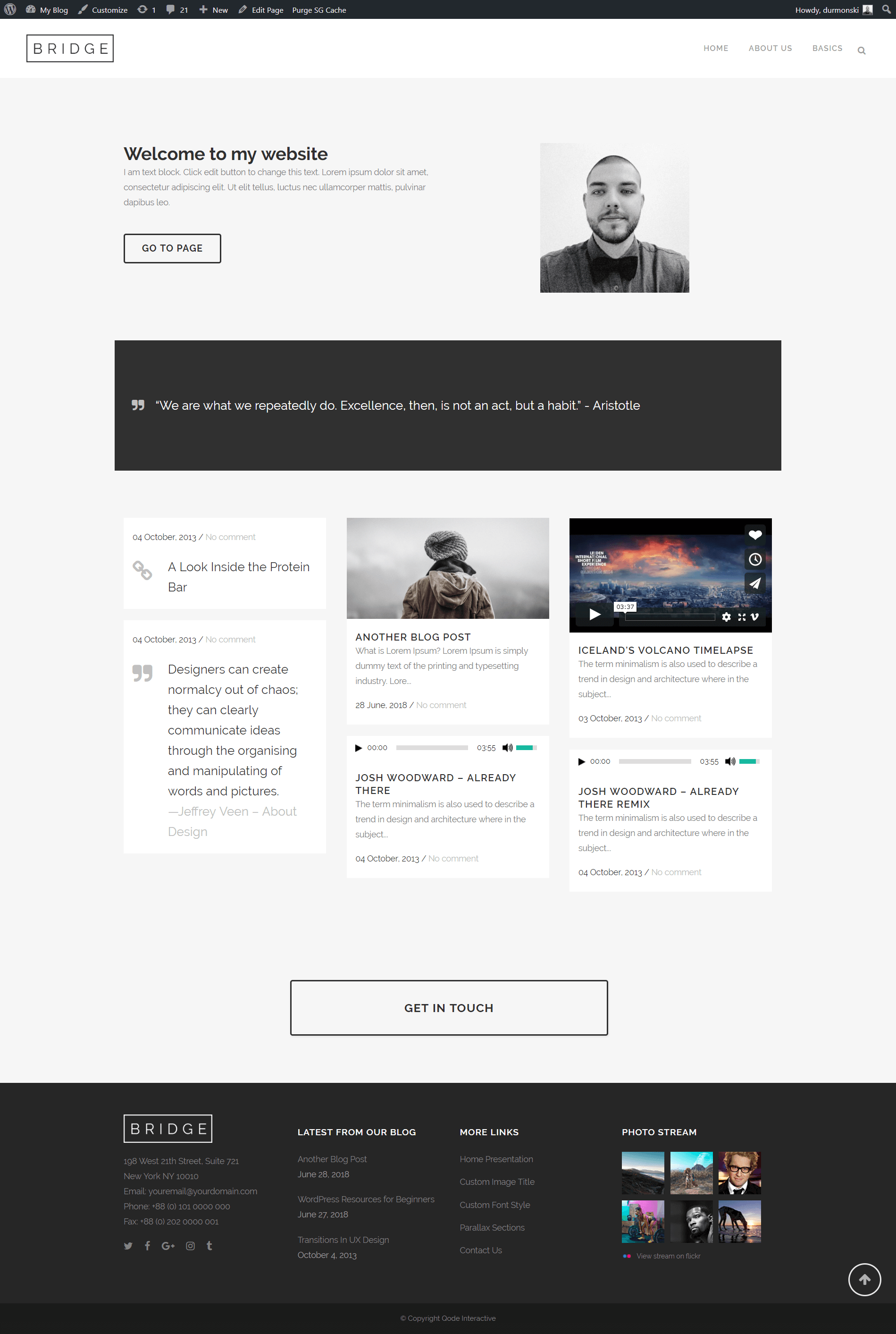 Landing page with WordPress theme Bridge