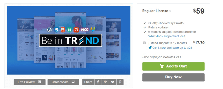 Create your own online store with Trend WordPress theme