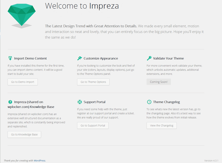 Impreza WordPress 2