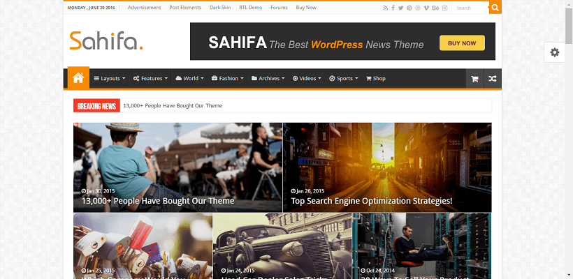 Sahifa WordPress blog theme