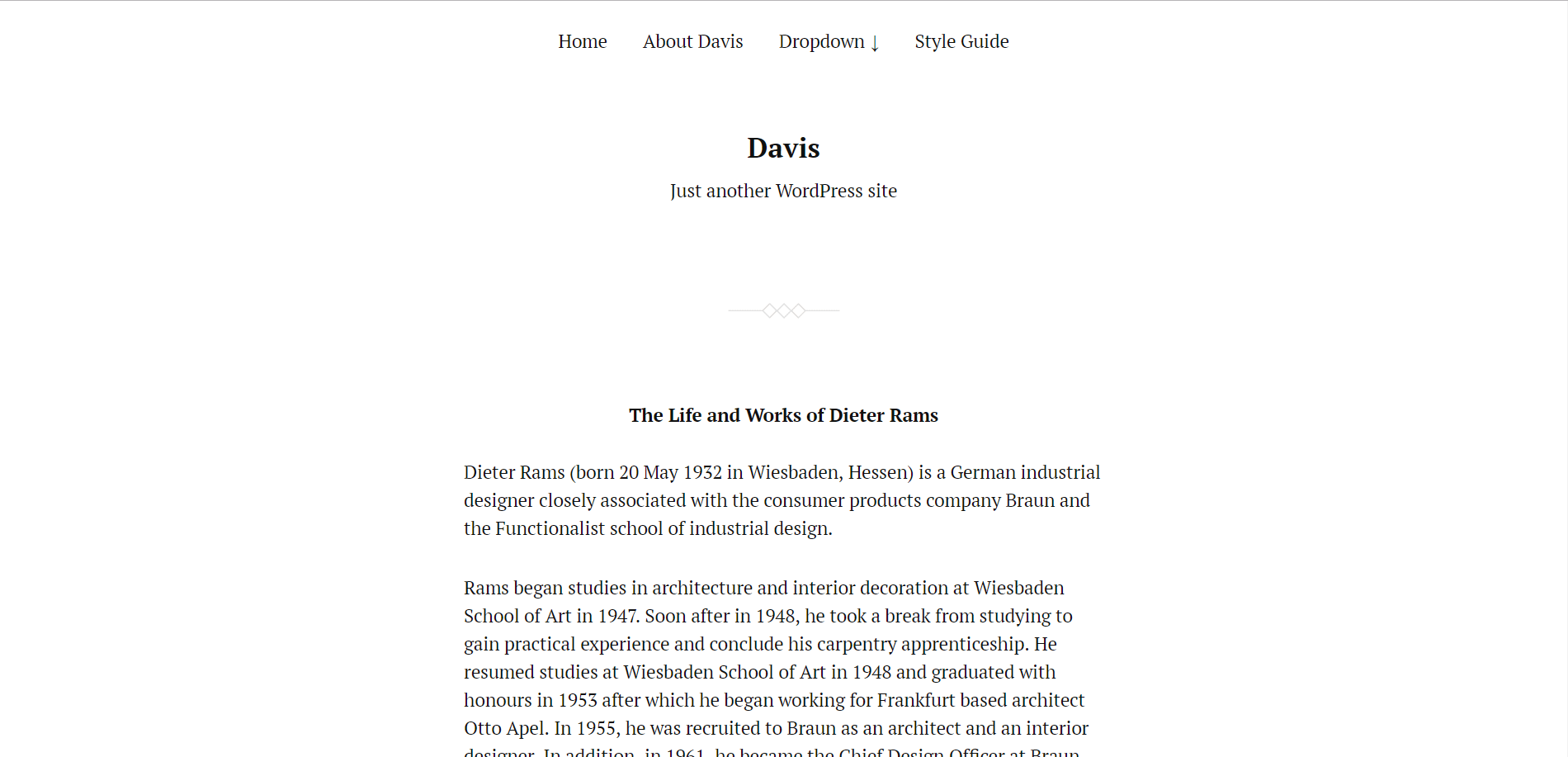 Davis Minimal WordPress Theme