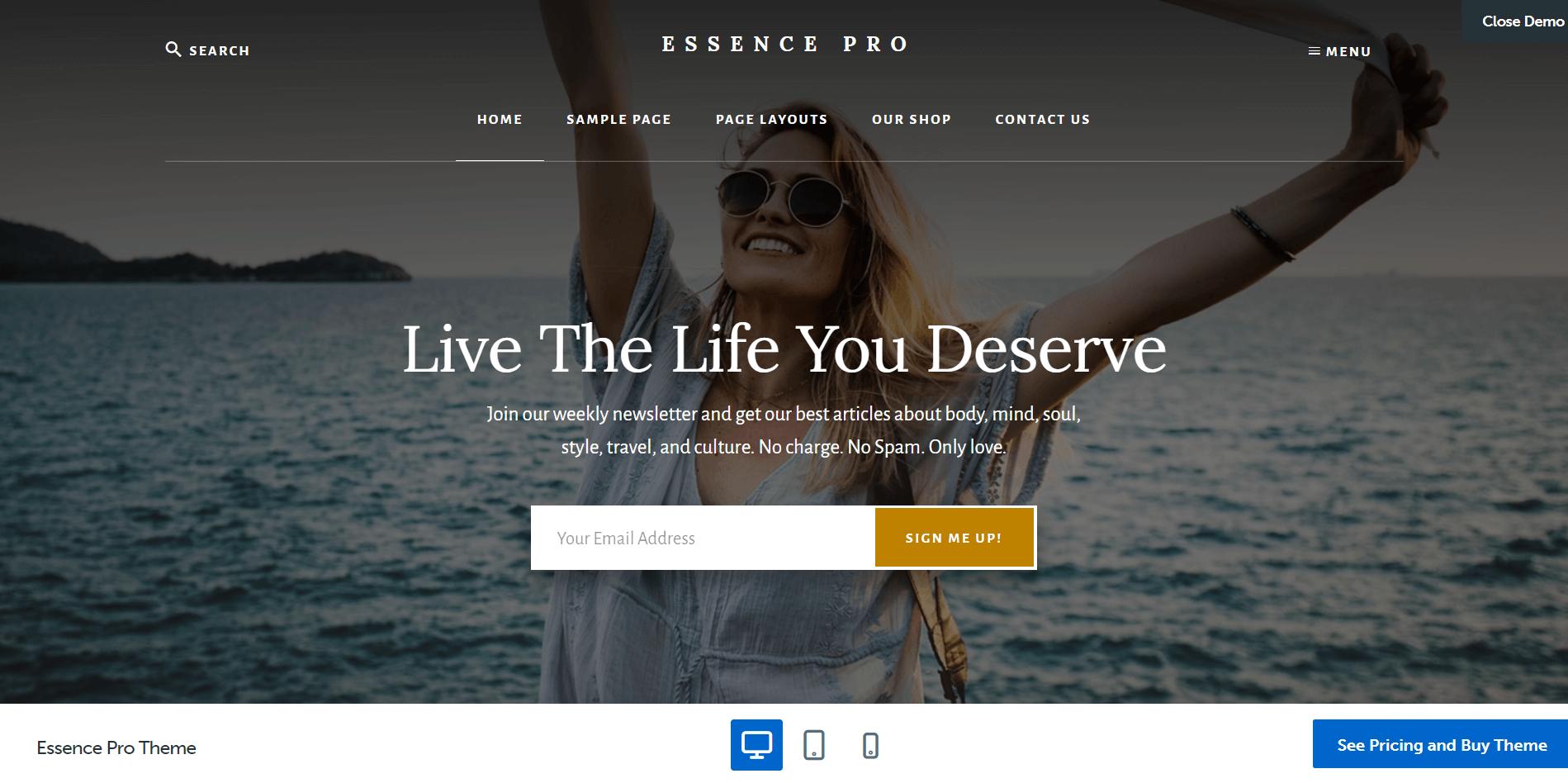 Essence Pro Minimal WordPress Theme