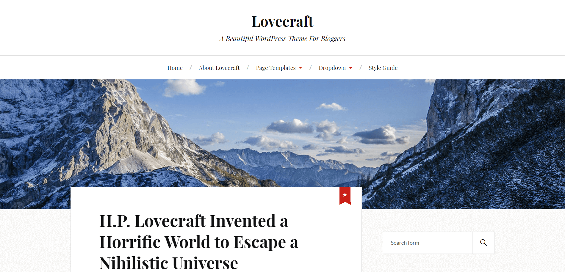 Lovecraft Minimal WordPress Theme