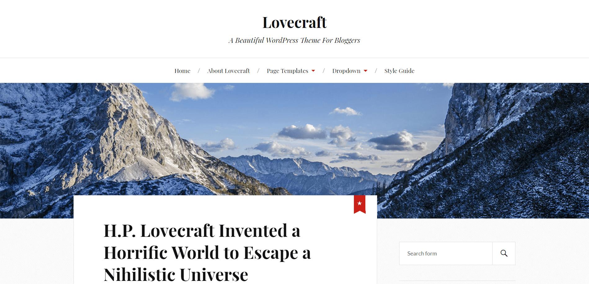 Lovecraft Minimal WordPress Theme