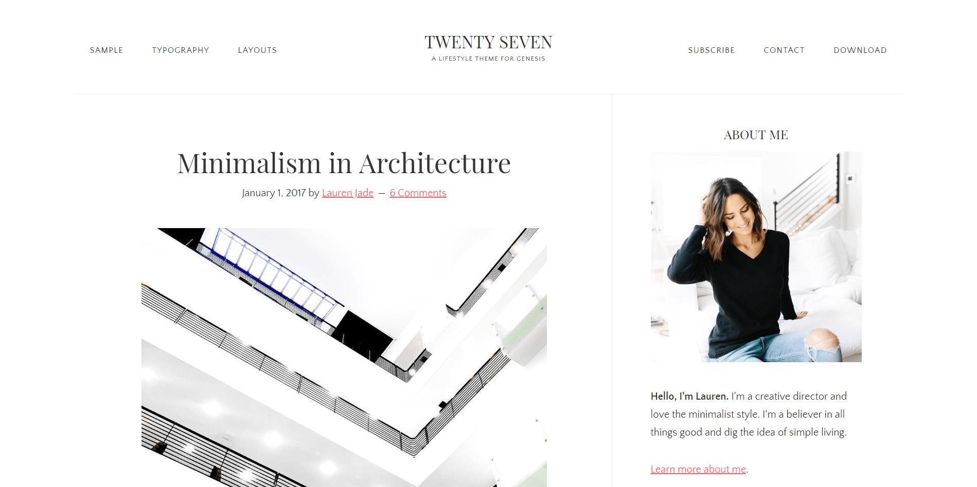 TWENTY SEVEN Minimal WordPress Theme