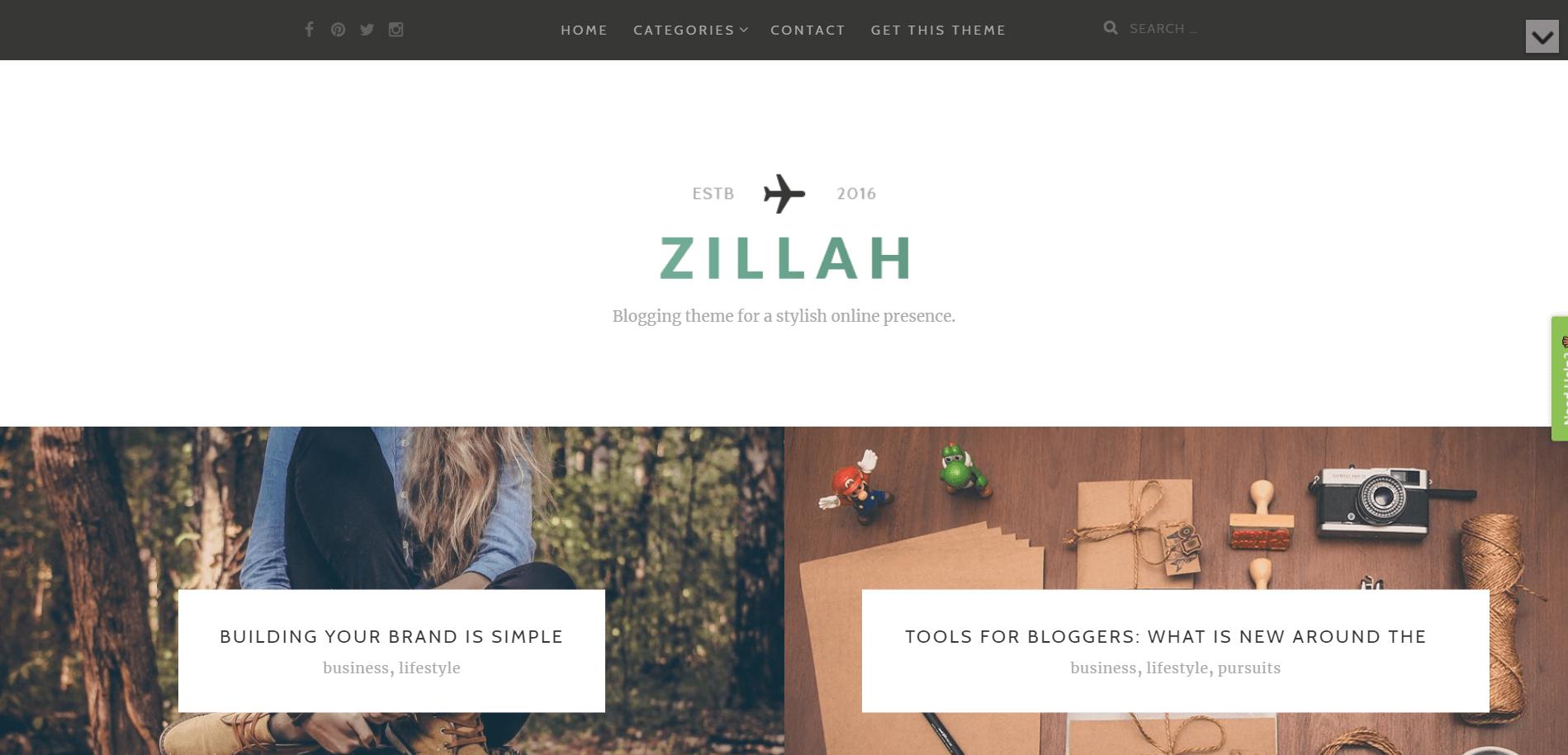 Zillah Minimal WordPress Theme