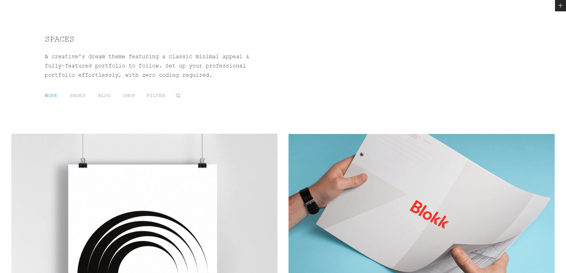 spaces Minimal WordPress Theme