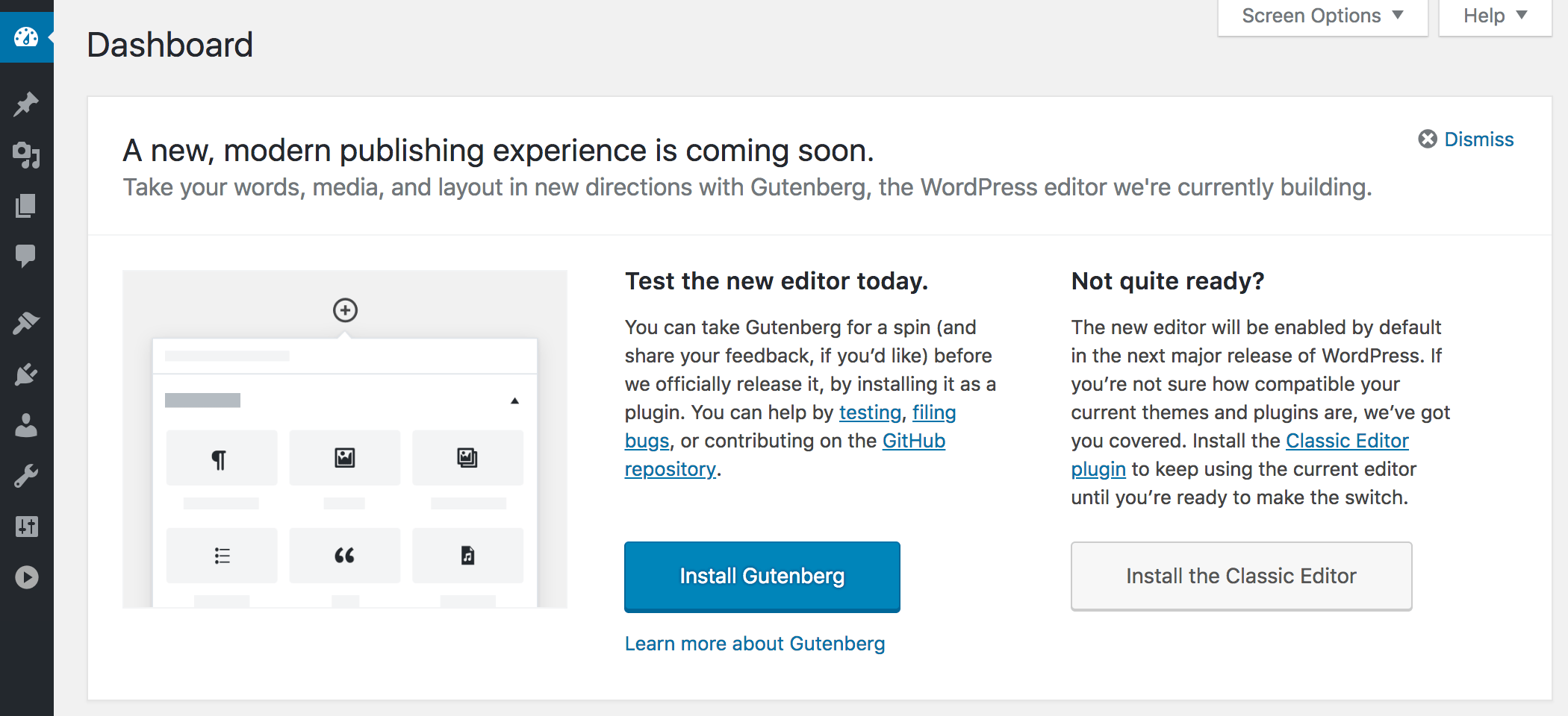 Gutenberg in WordPress 4.9.8