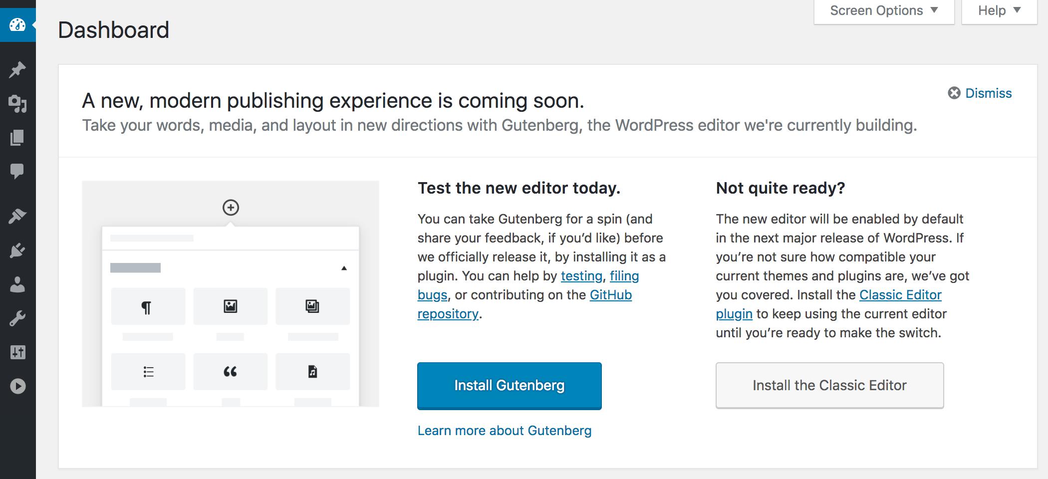 Gutenberg in WordPress 4.9.8