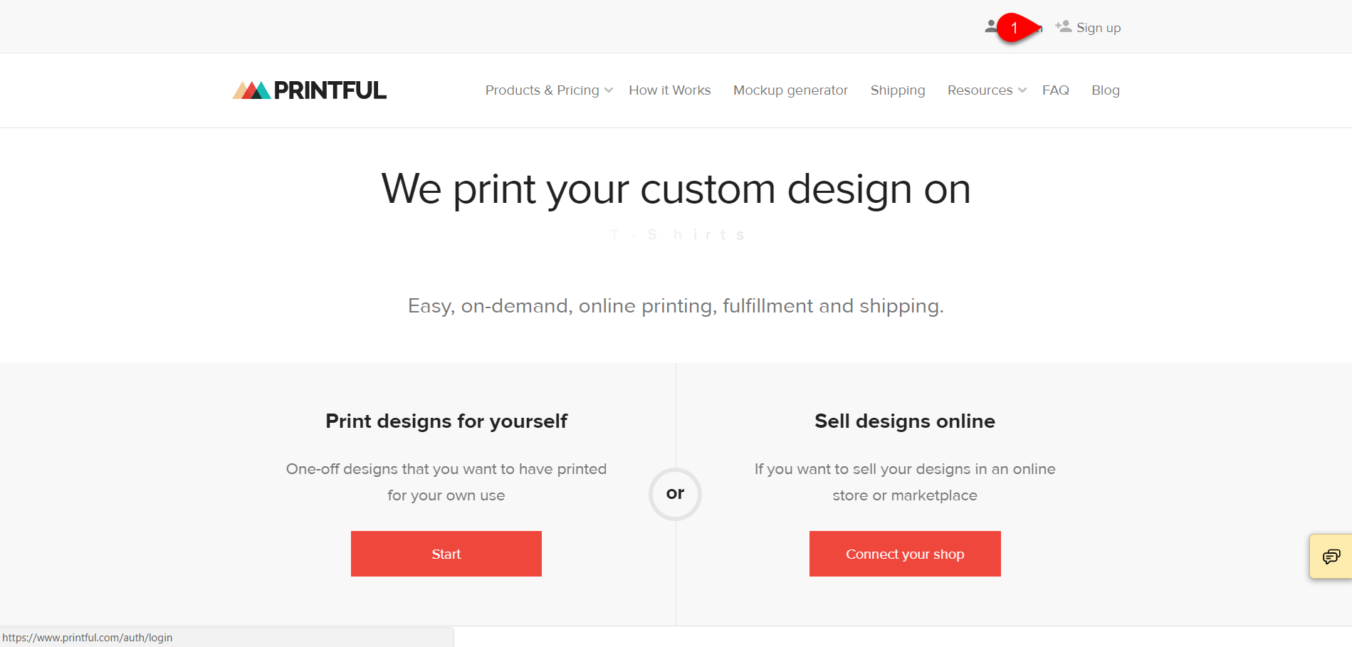 Creating Account with Printful