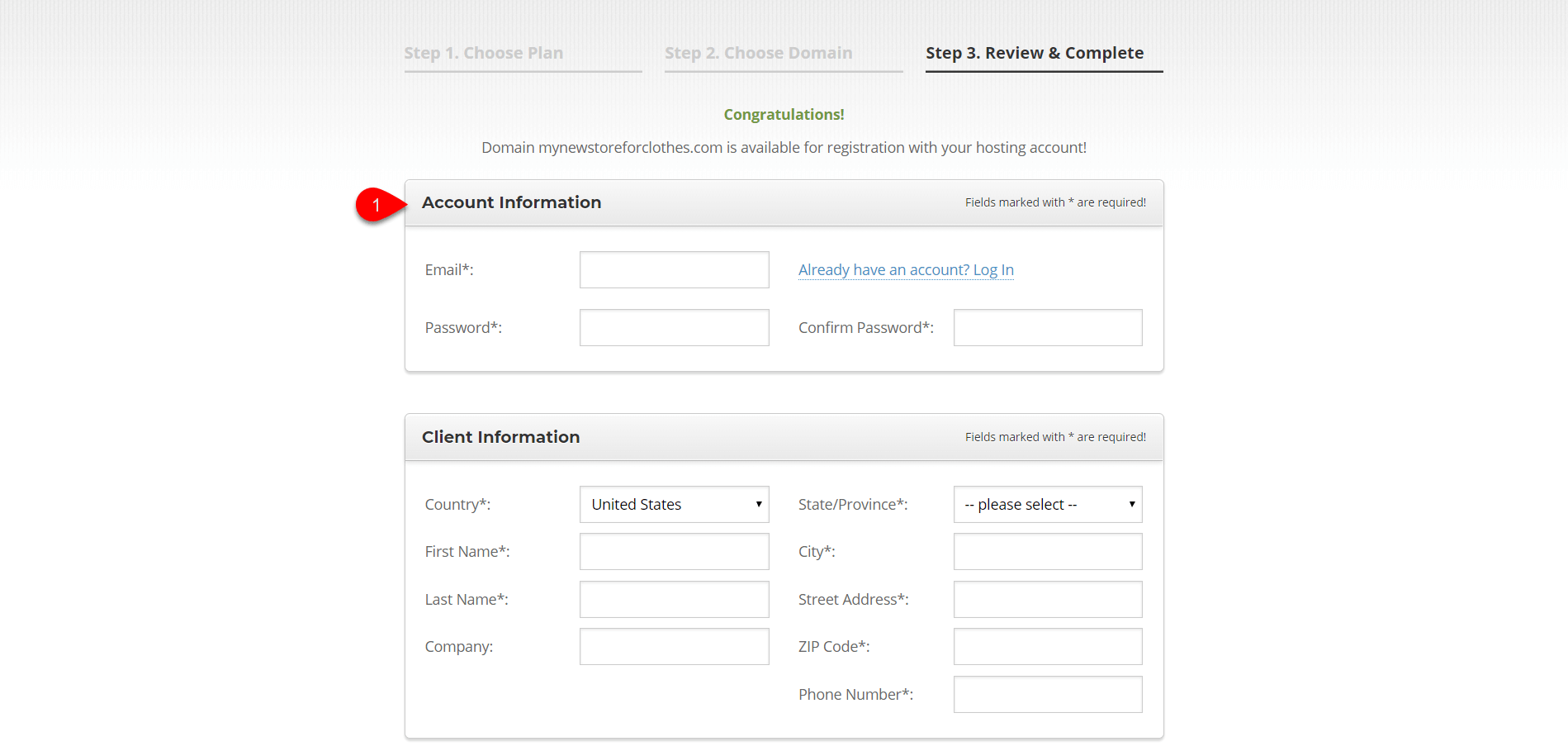Setting up hosting account SiteGround 2