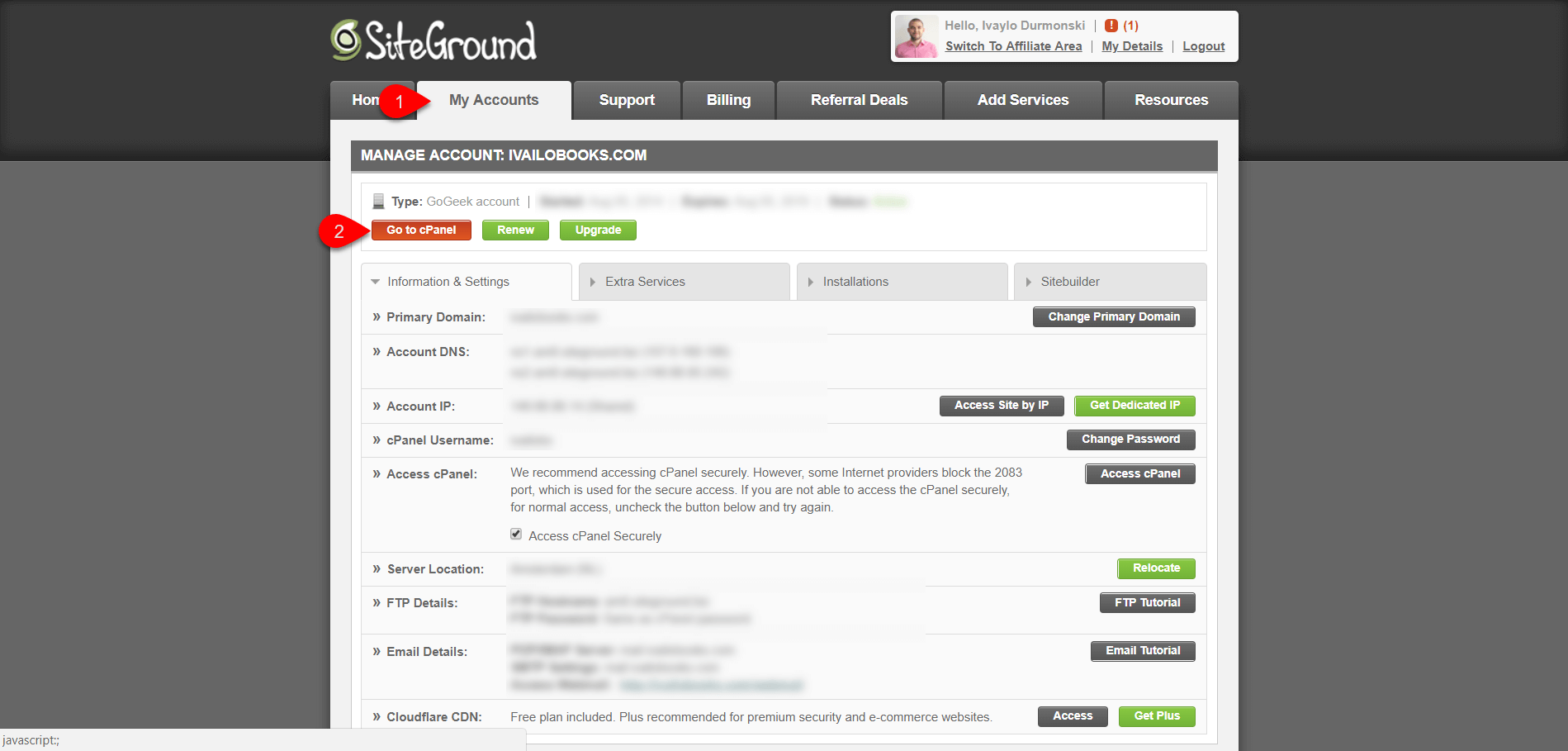 Setting up hosting account SiteGround 3