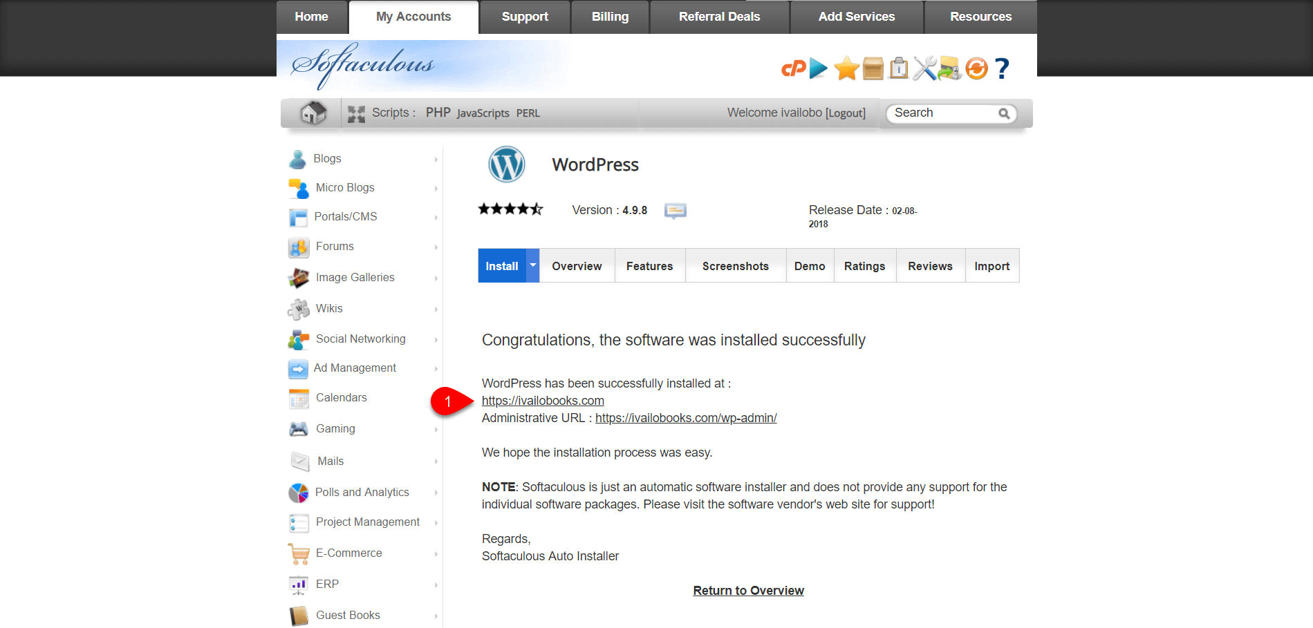 installing WordPress on SiteGround 2