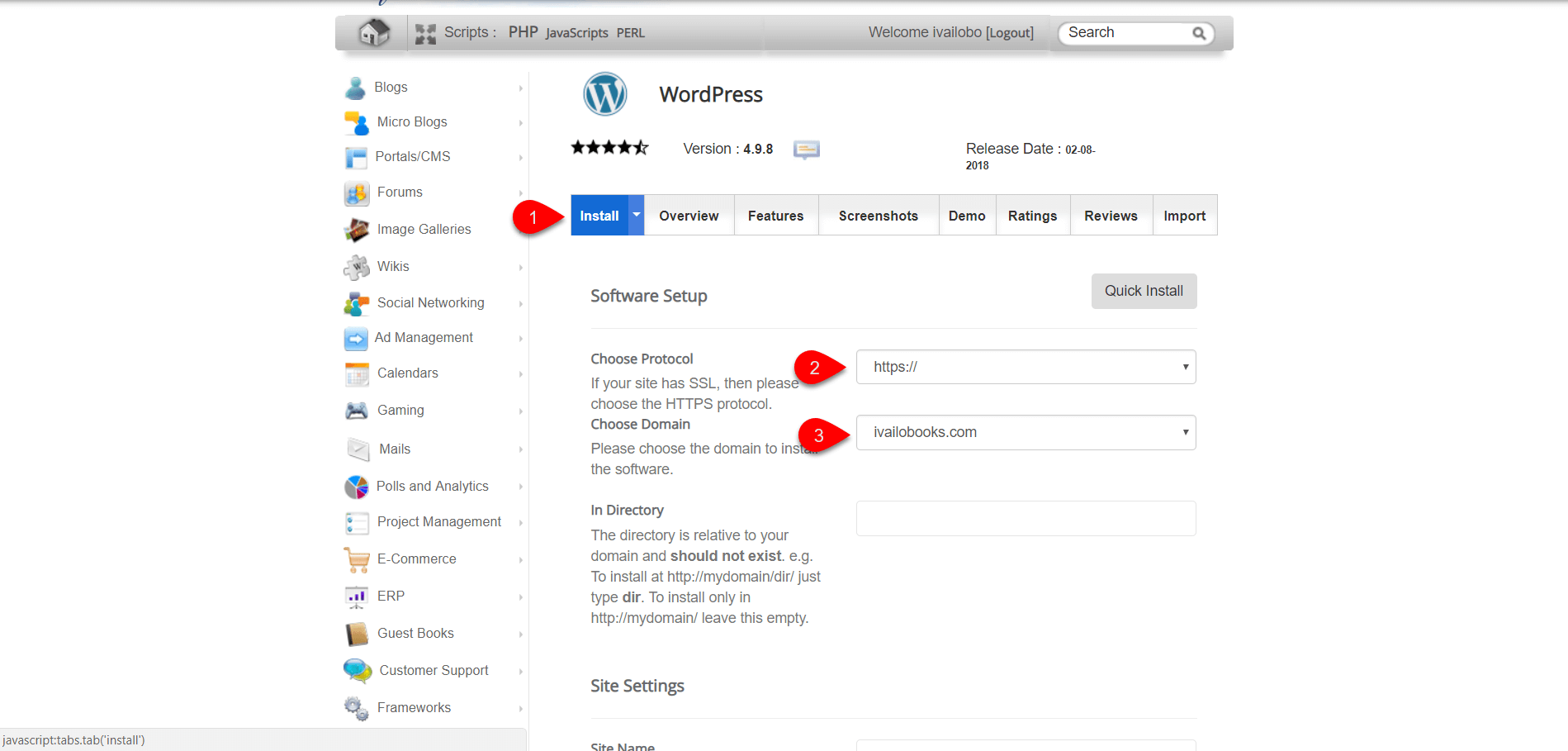 installing WordPress on SiteGround