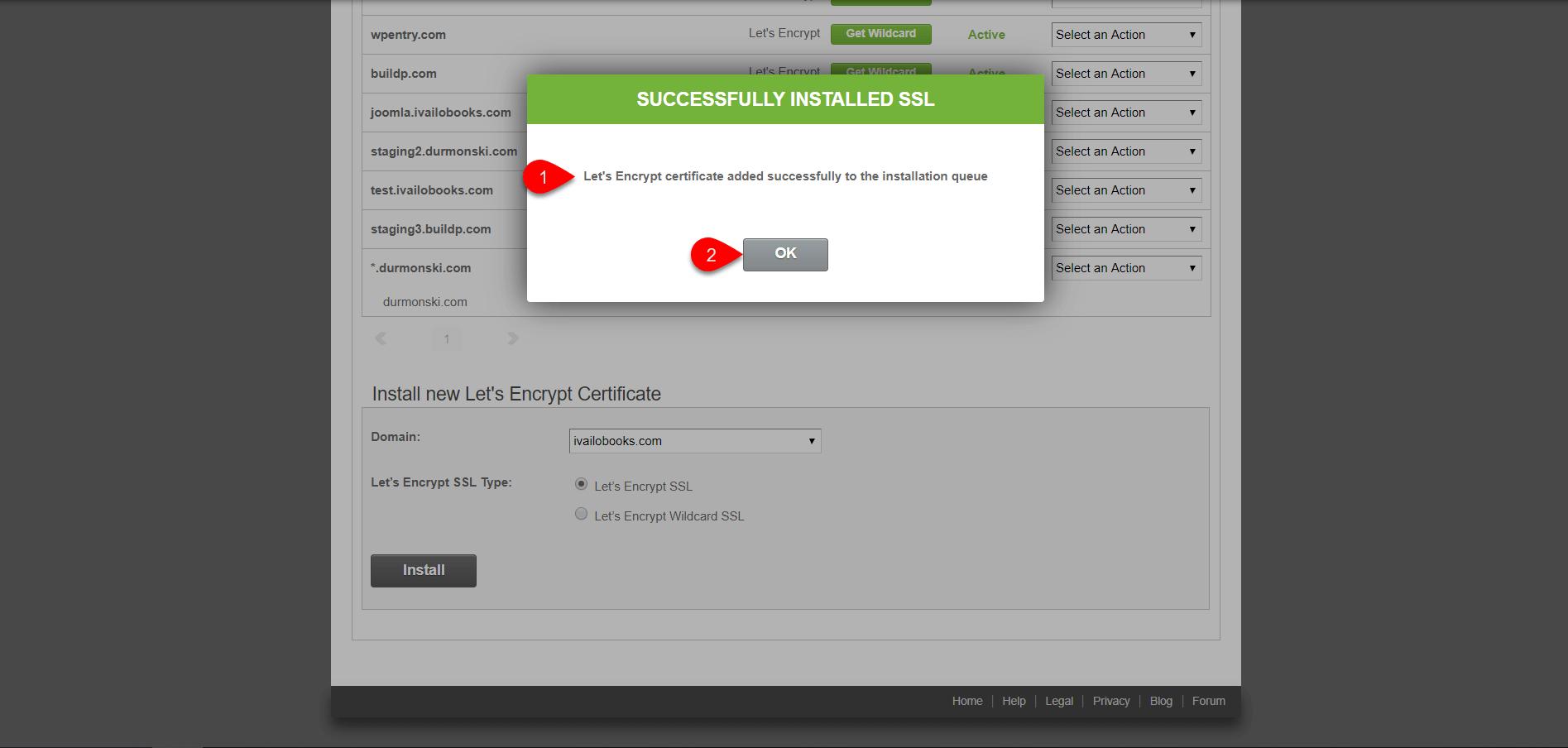 installing Let's Encrypt SSL Hosting