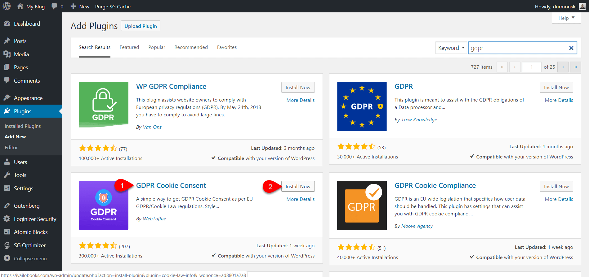 Configure GDPR Cookies Plugin 1
