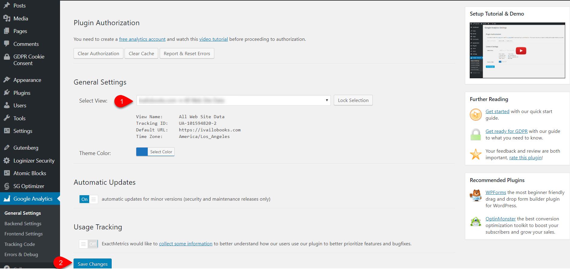 Configure Google Analytics Dashboard for WP 11