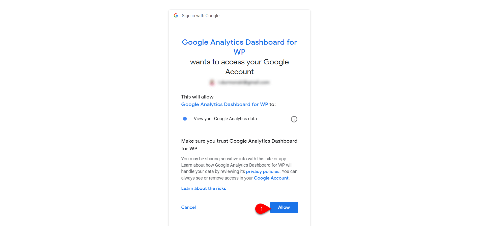 Configure Google Analytics Dashboard for WP 5