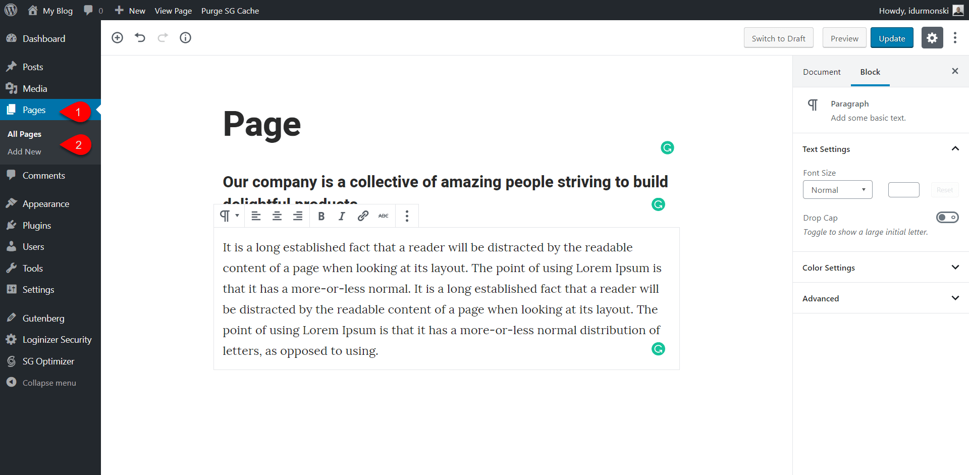 Create page in WordPress