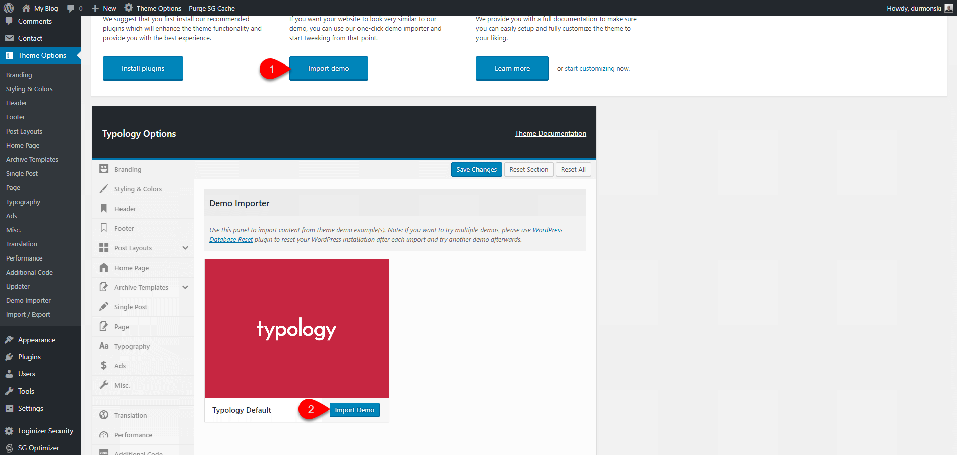 Installing Typology WordPress Theme 5