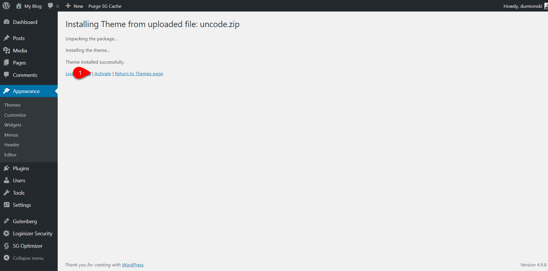 Installing Uncode WordPress Theme 1