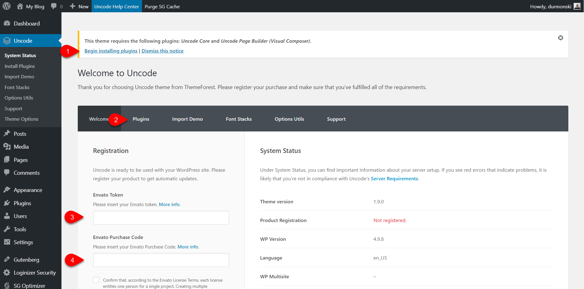 Uncode WordPress Theme Settings