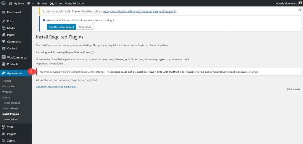 XStore WordPress theme error installing plugins