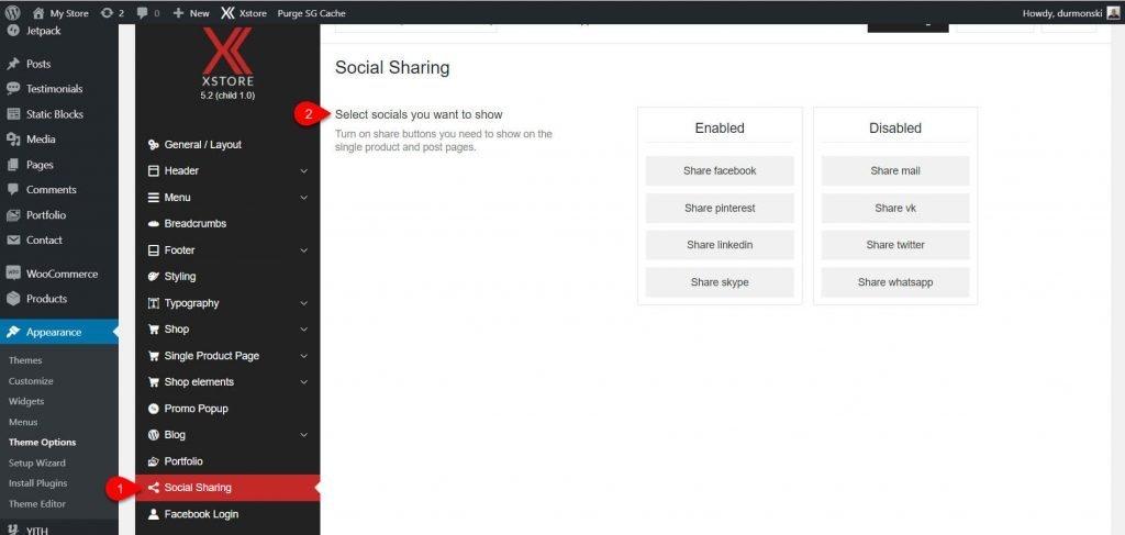 social sharing XStore WordPress theme