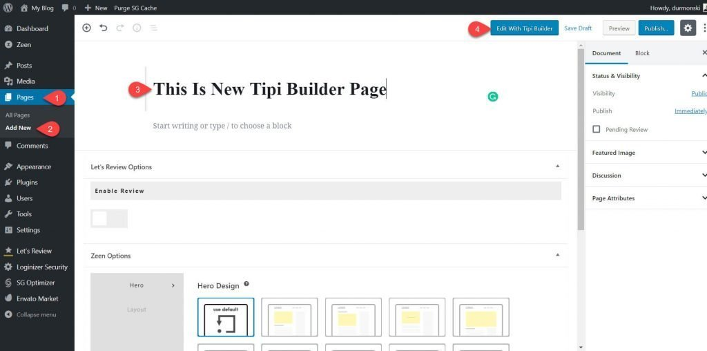Tipi Builder page builder